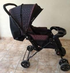Carrinho De Bebê Preto Rajado - Cosco