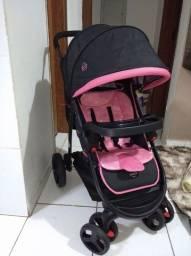 Carrinho de bebê + Bebê conforto Cosco Nexus Rosa completo, praticamente novo