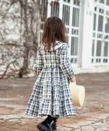 Vestido em tecido de algodão xadrez
