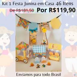 Kit Festa Junina em Casa 46 Lembrancinhas Personalizadas