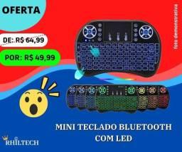Mini teclado Bluetooth com led