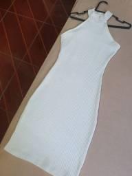 Vestido canelado off-white T.M