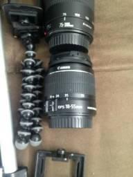 Câmera dslr Canon T6 18-55 + 75-300 + 50 Yongnuo 1.8 + Bolsa + 2 Baterias + 64gb 80MBS