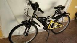 Bicicleta Bike Tb 100 Xs Aro 26 preta/amarela 18 marchas