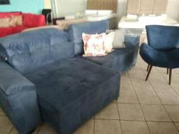 Sofa retratil e reclinável 2.50m na cor azul disponível para entrega