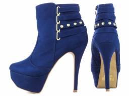 ef7f637cff Bota Feminina Cano Curto Azul Salto Alto Fino n37