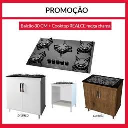 Balcão com cook top na promoção jdbd
