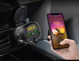 Adaptador carregador Bluetooth para Som de Carro