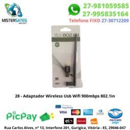 28 - Adaptador Wireless Usb Wifi 150mbps Sem Fio Lan Bgn Antena GR