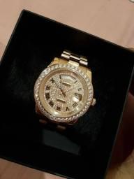 Relógio Rolex Day Date Rose Cravejado