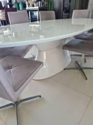 Mesa oval + 8 cadeiras giratórias HOME DESIGN