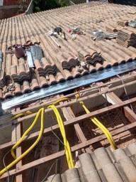 Trabalho com calhas e telhados