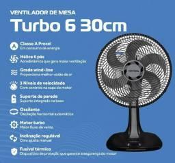 Título do anúncio: Ventilador De Mesa Turbo Preto 30Cm 6 Pás Oscilante Ventisol 220V