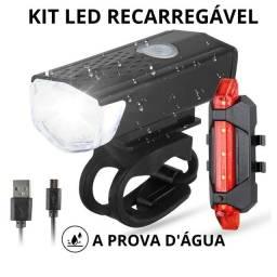 Kit farol bike frontal + lanterna traseira LED carregador USB