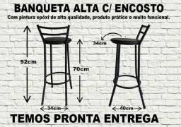Banqueta Alta com Encosto-Designer Sofisticado