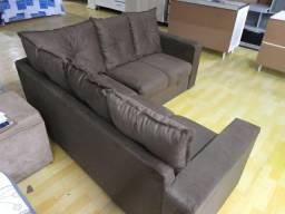 Sofa De Canto Animalle , Suede, 1,80x1,80m, Novo**