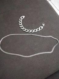 Cordão e Pulseira de prata