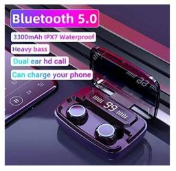 Vendo fones de ouvido sem fio Bluetooth 5.0 verdadeiro, IPX7, 110horas de bateria.