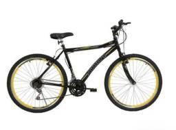 Bicicleta 26 Athor Pto/Amarelo T/19 Adventure 18v (Nova com NF)