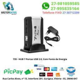 735 - Promoção - HUB 7 Portas USB 2.0, Com Fonte de Energia