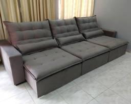 Sofá Modelo Retrátil modelo Toronto 3 Módulos - Conforto e Qualidade - Até 10x