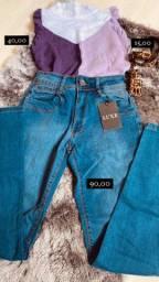 Calça luxe, cinto, blusa - coleção nova