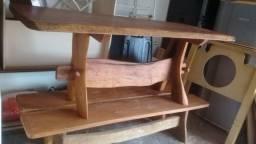 "mesa de ""Madeira Maciça- Prancha inteira"" + 2 bancos *zap: 9.9282.4828<br>"
