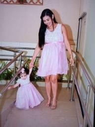 Vestido mãe e filha rosa clara médio