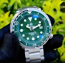 Relógio Profissional Mergulho Addiesdive 300m Automático Verde Máquina Seiko NH35