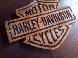Uadro harley davidson em madeira maciça 30x40