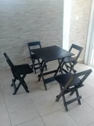 Conjunto de mesa madeira dobravel