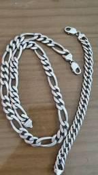 Cordão + pulseira em prata 925