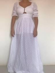 Vestido longo em Broderi cor Branca