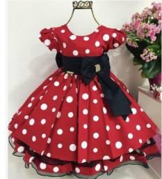 Vestido Minnie vermelho festa LUXO