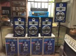Título do anúncio: Amplificador 700w + 4 caixas acústicas com led azul