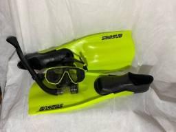 Kit pés de pato + óculos natação Seasub