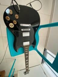 Guitarra Memphis Preta + Amplificador Fender + Pedaleira Element