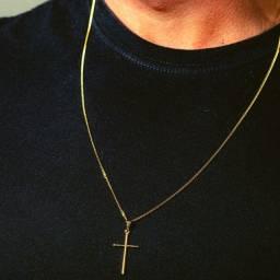 Corrente Masculina Cordão Grumet 70cm 1,5mm Moeda Antiga com Pingente Cruz Unissex
