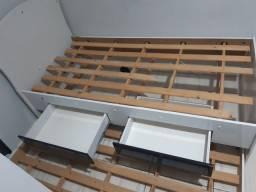 Cama de solteiro, com cama auxiliar, com duas gavetas!
