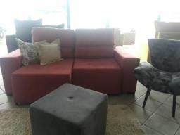 Sofa retratil e reclinável 2.0m na cor rosa ja disponível