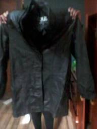 Casaco sobretudo couro legítimo cor preto tamanho m