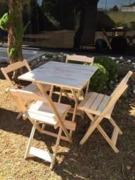 Conjunto sem pintura de todo em madeira - com 2 ou 4 cadeiras