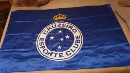 Bandeira do Cruzeiro - nova - 1,45 x 0,90 - Tecido Cetim