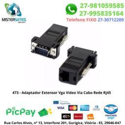473 - 2 Adaptadores Extensor Vga Video Via Cabo Rede Rj45