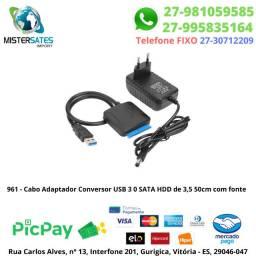 961 - Cabo Adaptador Conversor USB 3 0 Sata HDD de 3,5 50cm com fonte