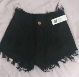 Short Jeans Cintura Alta Hot Pant Destroyed
