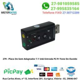 279 - Promoção - Placa De Som Adaptador 7.1 Usb Entrada P2 P/ Fone De Ouvido