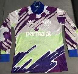 Camisa/Camiseta Goleiro Numero pintado Autografada 1993/1994 Rhumell Parmalat Palmeiras