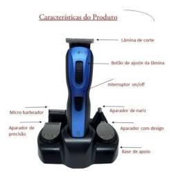 Máquina Barbear Aparador Elétrico Profissional Recarregável