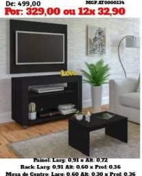 Conjunto Rack com Painel de televisão e Estante e Mesa de Centro